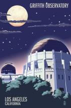 Los Angeles, California - Griffith Observatory at Night (16x24 Giclee Gallery Print, Wall Decor Travel Poster)