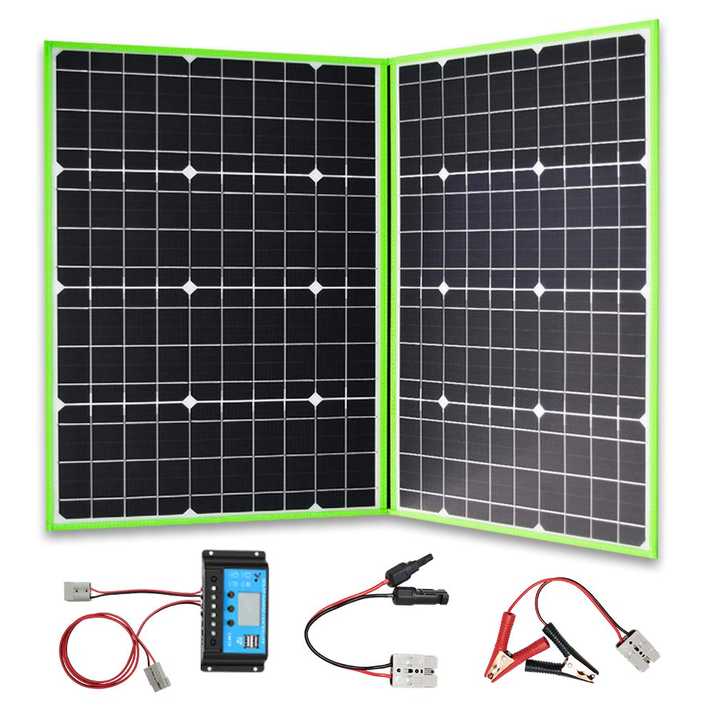 XINPUGUANG 100W 12V Foldable Solar Panel Portable Charger Generator Solar Suitcase with 10A Charge Controller Cable for Battery Camping Travel RV Outdoor