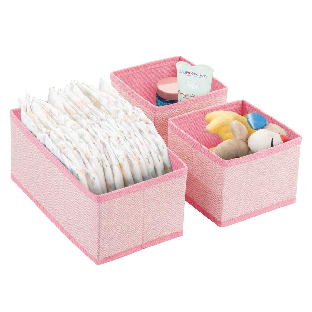mDesign Soft Fabric Dresser Drawer and Closet Storage Organizers for Child/Kids Room, Nursery, Playroom - Holds Boys, Girls, Baby Clothes, Onesies, Diapers, Wipes - Herringbone Print, 2 Pack - Pink