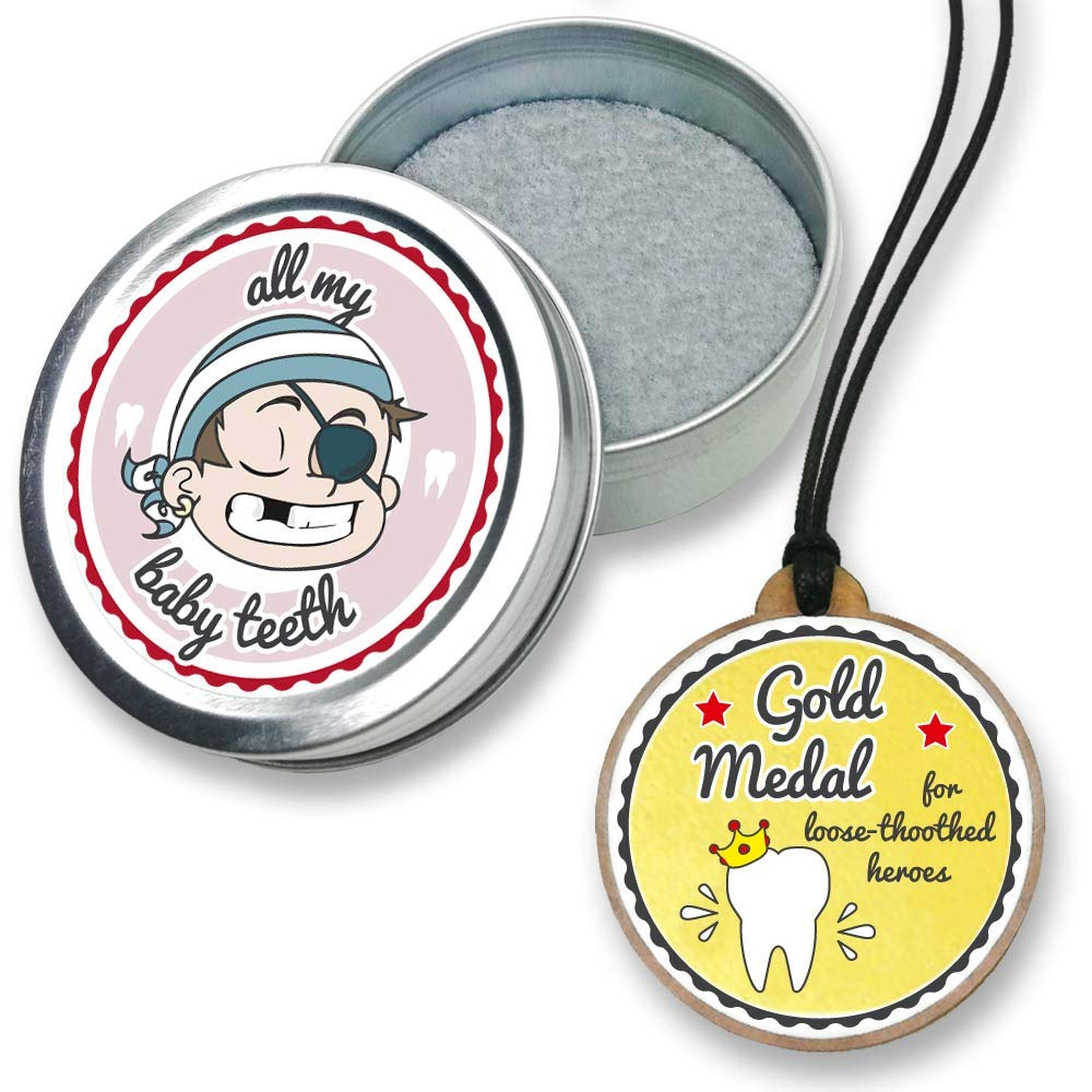 FANS & Friends Baby Tooth Keepsake Box with Gold Medal, Tooth Fairy Necklace Award, Tooth Fairy Gifts for Boys & Girls, Metal Tooth Box for Lost Teeth