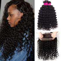 Brazilian Deep Wave Hair 360 Lace Frontal with Bundles Human Wet and Wavy Human Hair Bundles with 360 Lace Frontal Closure with Baby Hair Pre Plucked Hairline Deep Curly Hair Bundles with Closure
