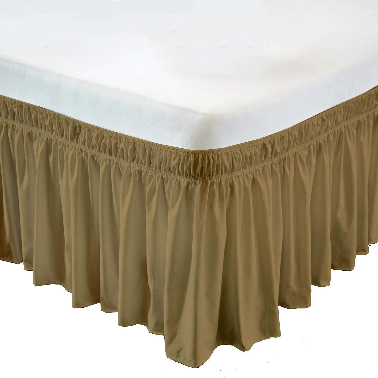 Wrap Around Bed Skirt- 12 Inch Drop Length Style Easy Fit Elastic Bed Ruffles Bed-Skirt Wrinkle Free Bed Skirt - Taupe, Queen in All Bed Sizes and Colors