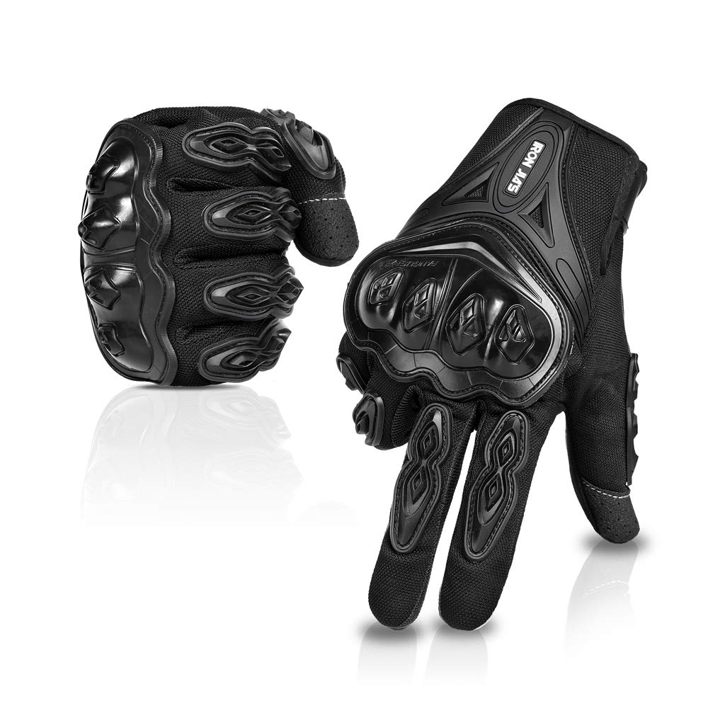 Motorcycle gloves Full finger durable for road racing bike summer spring Powersports support touch screen BLACK-L