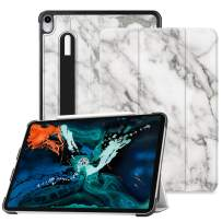 """Fintie SlimShell Case for iPad Pro 12.9"""" 3rd Gen 2018 [Supports 2nd Gen Pencil Charging Mode] - Lightweight Stand Cover with [Secure Pencil Holder] Auto Sleep/Wake, Marble"""
