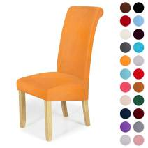 Velvet Stretch Dining Chair Slipcovers - Spandex Plush Short Chair Covers Solid Large Dining Room Chair Protector Home Decor Set of 6, Orange