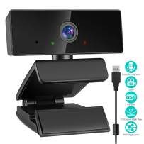 Webcam with Microphone, HD 1080P USB Web Camera, Streaming Webcam for Computer, Plug and Play & 110-Degree Wide Angle View for Home Office/Online Work/Video Calling