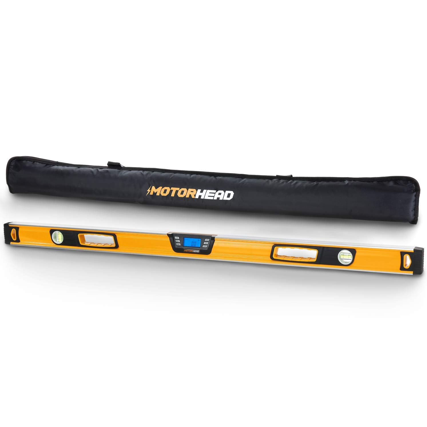 MOTORHEAD 48-Inch 0°-360° SMART DIGITAL Level, LCD Screen, Audible Alerts, Water, Dust & Shock Resistant, Magnetic Bottom, Includes Bag, High-Visibility, Solid-Milled Aluminum, USA-Based Support
