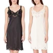 Under Moments Women Full Cami Slip Camisole Dress Nightgown 2 Pack Black-Beige