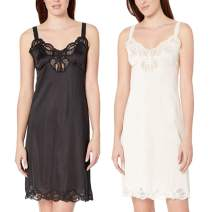Under Moments Women Full Cami Slip Camisole Dress Nightgown 2 Pack Black-Beige