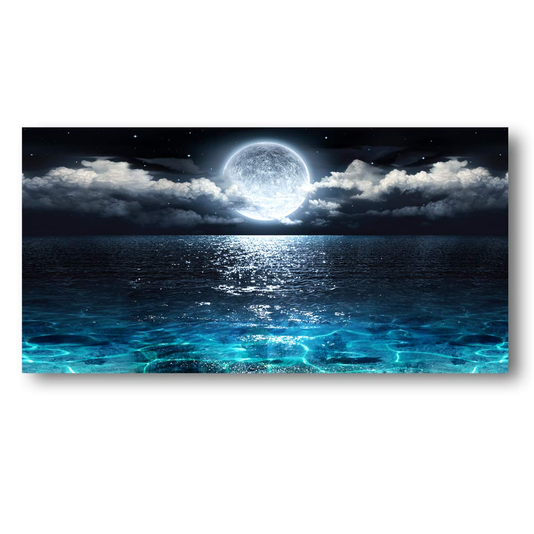 Wall Art Moon Sea Ocean Landscape Picture Canvas Wall Art Print Paintings Modern Artwork for Living Room Wall Decor and Home Décor Framed Ready to Hang,2cm Thick Frame, Waterproof Artwork.