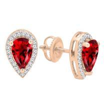 Dazzlingrock Collection 14K 8X5 MM Each Pear Gemstone & Round Diamond Teardrop Stud Earrings, Rose Gold
