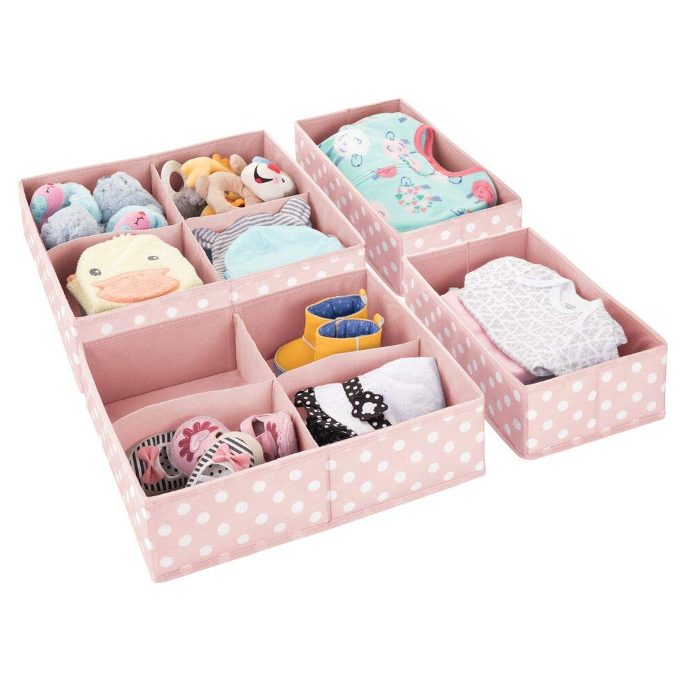 mDesign Soft Fabric Dresser Drawer and Closet Storage Organizer Set for Child/Kids Room, Nursery, Playroom - 4 Pieces, 10 Compartments - Fun Polka Dot Print - Pink/White