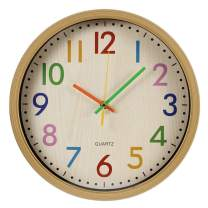 RELIAN Kids Wall Clock Non Ticking Wall Clock with Large Colorful Arabic Numbers, 12 inch Quartz Battery Operated Wall Clock for Bedroom, Living Room and School Classroom (Wooden Frame)