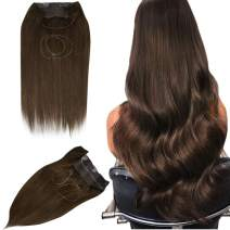 """Easyouth 18"""" One Piece Crown Brown Hair Extensions with Invisible Fish Line 4 Middle Brown Grade 7A Human Hairpiece 80gram/Pack Brown Secret Wire Remy Extension Halo Human Hair Extensions"""