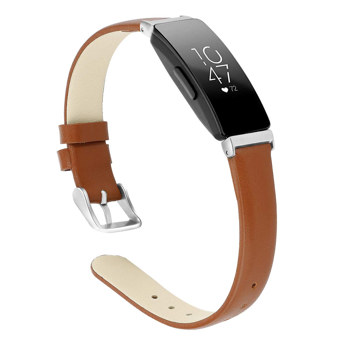 """CAVN Leather Bands Compatible with Inspire/Inspire HR for Women Men, Genuine Leather Slim Replacement Wristbands Bracelet Accessories Classic Leather Strap (S (6.0""""-7.8""""), Brown)"""