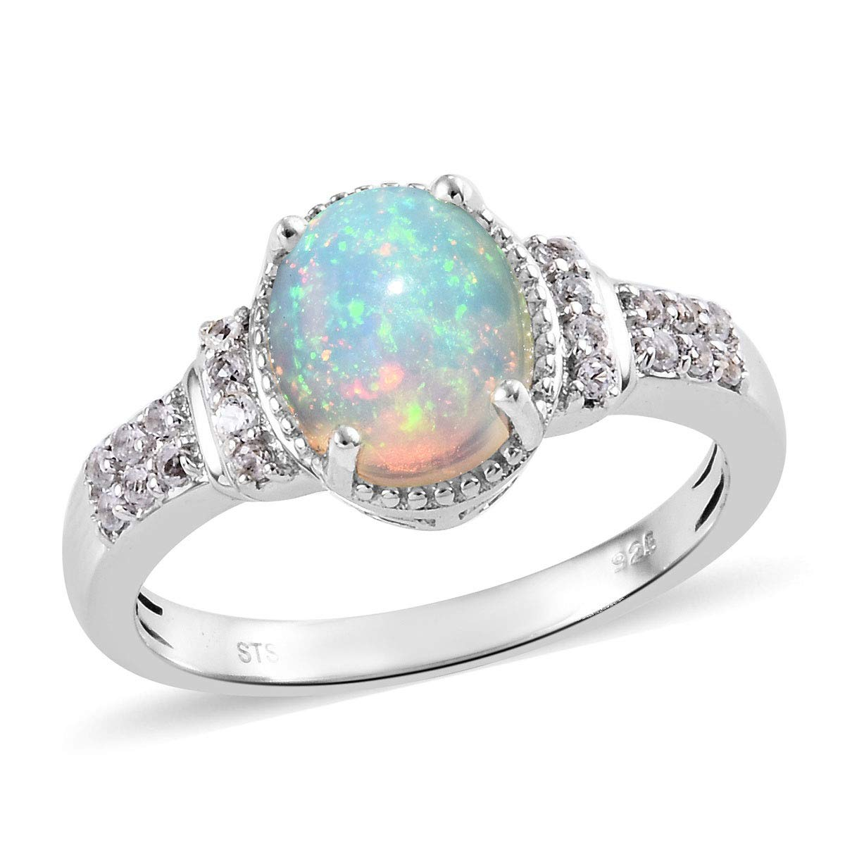 925 Sterling Silver Oval Fire Opal White Topaz Platinum Plated Solitaire Promise Statement Engagement Anniversary Ring for Women Size 10 Mothers Day Gifts