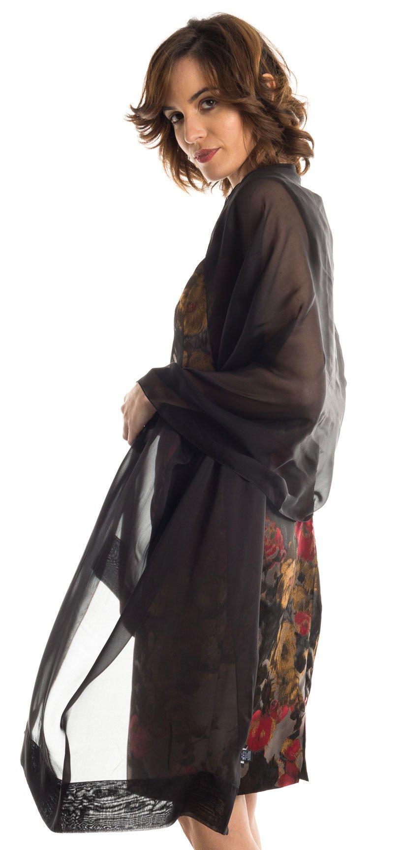Elizabetta Evening Shawl Wrap, Pure Silk Chiffon, Made in Italy