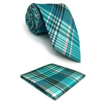 S&W SHLAX&WING Silk Necktie for Men Tie Set with Pocket Square Jacquard Woven
