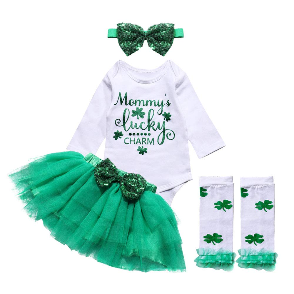 itkidboy Newborn My 1st ST Patrick's Day Outfit Baby Girl Long Sleeve Bodysuit Tutu Skirt Legwarmers with Headband
