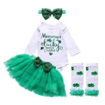 itkidboy Newborn My 1st ST Patrick's Day Outfit Baby Girl Long Sleeve Bodysuit Tutu Skirt Legwarmers with Headband