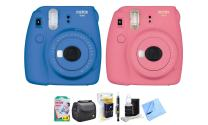 Fujifilm Instax Mini 9 Instant Camera (Lime Green), 1 Rainbow Film Pack, 1 Single Pack (White) Instant Film, case, 4 AA Rechargeable Battery's with Charger, Square Photo Frames & Accessory Bundle