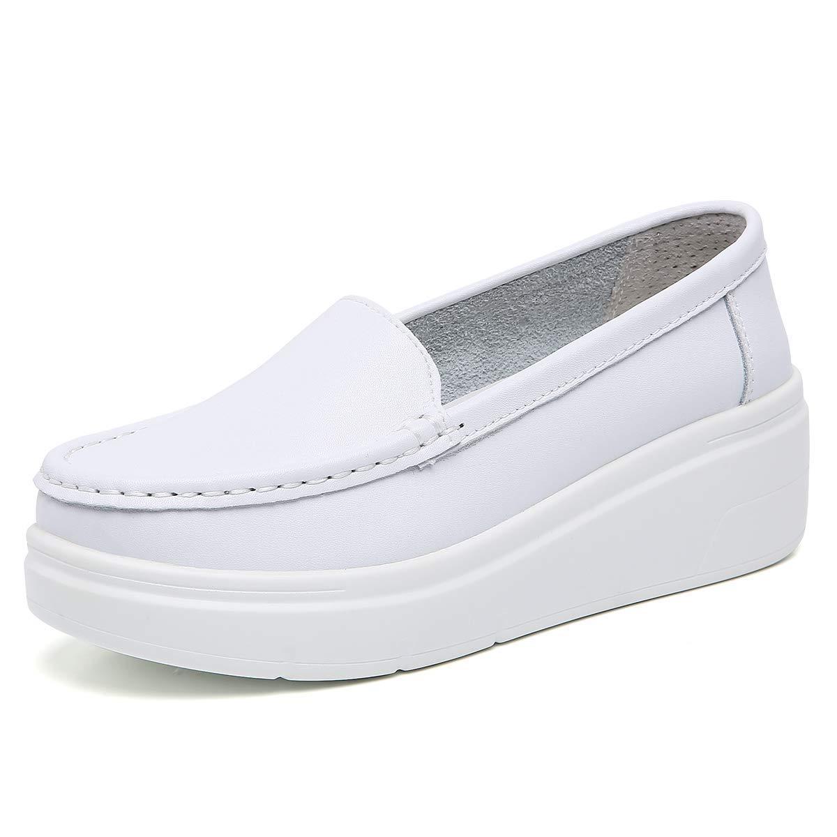 ZOVE Women's Lightweight Nursing Shoes Comfort Platform Food Service Shoe Restaurant Work Slip On Leather Loafers
