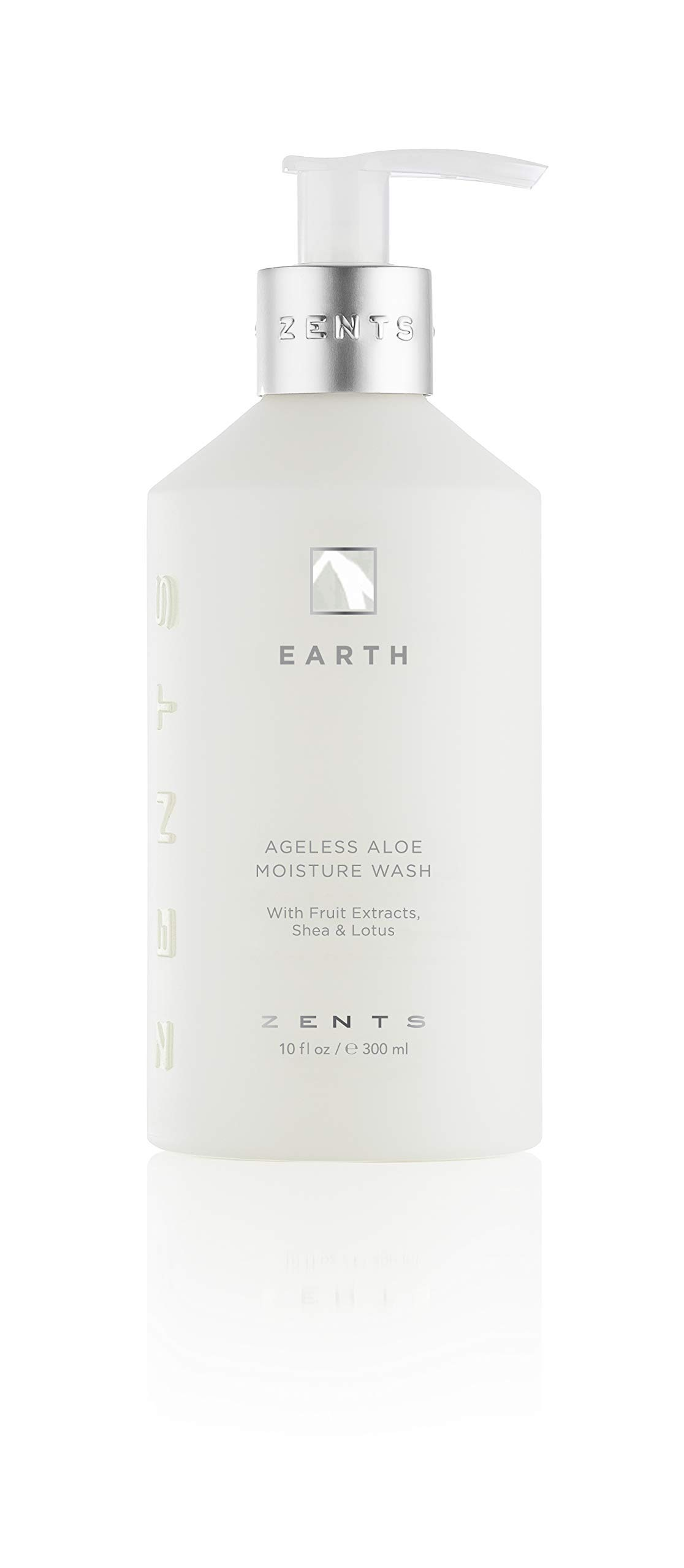 Zents Ageless Aloe Moisture Body and Hand Wash, Cleanse and Nourish Dry Skin with Shea Butter and Organic Aloe 10 fl oz / 300 ml (Earth)