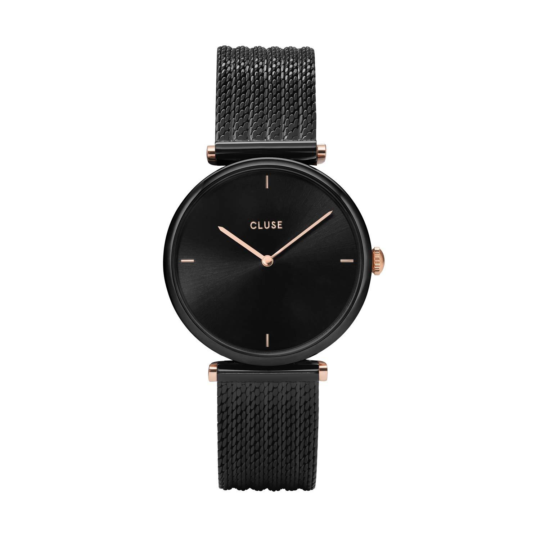 CLUSE Triomphe Mesh Black Black CL61004 Women's Watch 33mm Stainless Steel Bracelet Minimalistic Design Casual Dress Japanese Quartz Elegant Timepiece