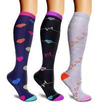 MEIVSO Compression Socks for Women & Men 3 Pairs 20-30 mmHg Knee High Best for Running Nursing Hiking Travel & Flight Socks