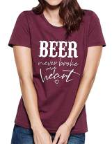 VILOVE Beer Never Broke My Heart T Shirts Women Beer Drinking Shirts Funny Sayings Short Sleeve Summer Tee Shirt