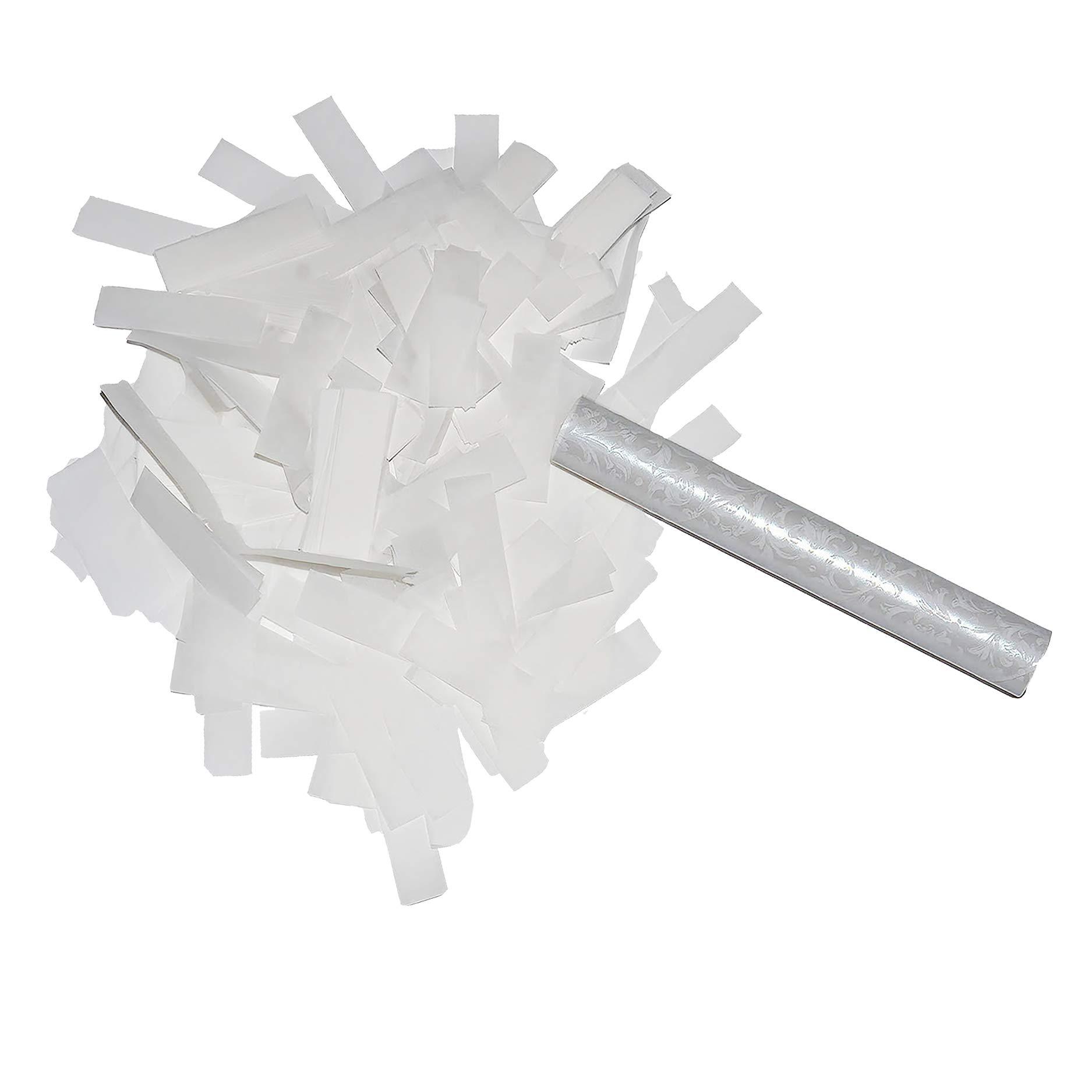 Flutter FETTI White Paper Tissue Wedding Confetti Stick Hand Flick Launcher Biodegradable (Eco-Friendly) 6inch- 10 Pack