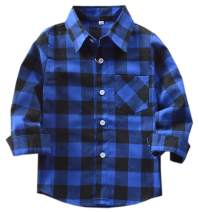 Boys' Flannel Shirt, Button Down Short Sleeve Plaid Flannel Shirt for Kids Toddlers Little & Big Boys Girls, Flannel# Blue + Black, 5-6 Years = Tag 130