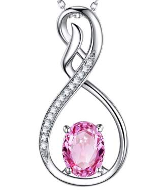 18k Gold Filled Pendant Gift for Her Sister and Girl Friend Pink Tourmaline Heart Pendant