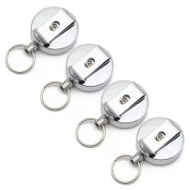 Tonshen Stainless Steel Retractable Badge Holder Portable Beel Clip with Key Ring for Key ID Card Holders 4 Pieces