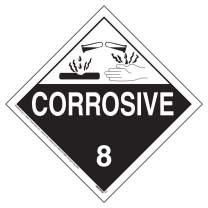 "Class 8 Corrosive Placard, Worded 25-pk. - 10.75"" x 10.75"" Removable Self Adhesive Economy Vinyl for Short-Term Applications - J. J. Keller & Associates - Complies with DOT Hazmat Placard Requirements"