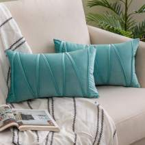 Woaboy Pack of 2 Striped Velvet Throw Pillow Covers Modern Decorative Solid Cushion Covers Rectangle Soft Cozy for Bed Sofa Couch Car Living Room 12x20inch 30x50cm Aqua Green