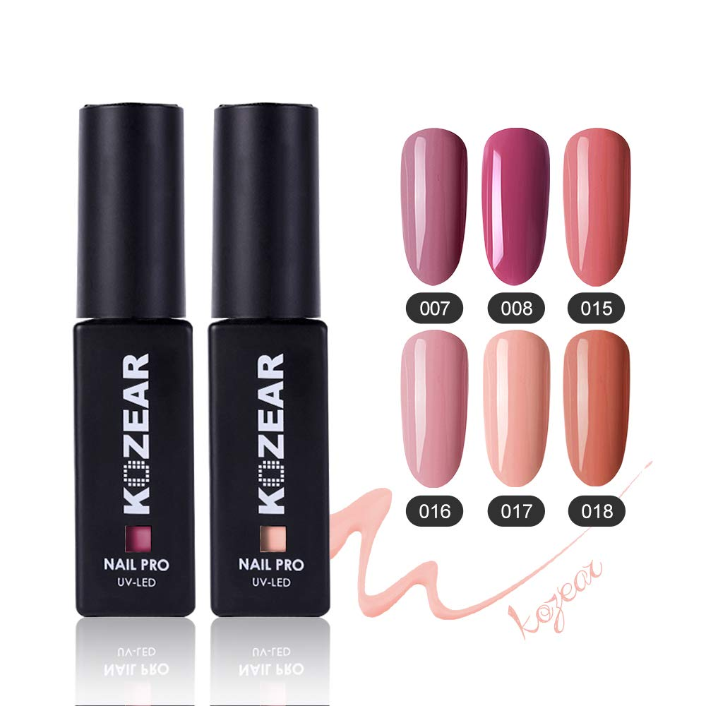 KOZEAR Nude Pink Gel Polish Set, 6 Colors/0.28 Fl Oz Soak Off UV LED Nail Gel Kit - Nude Color Serise Nail Gel Polish Kit, C007