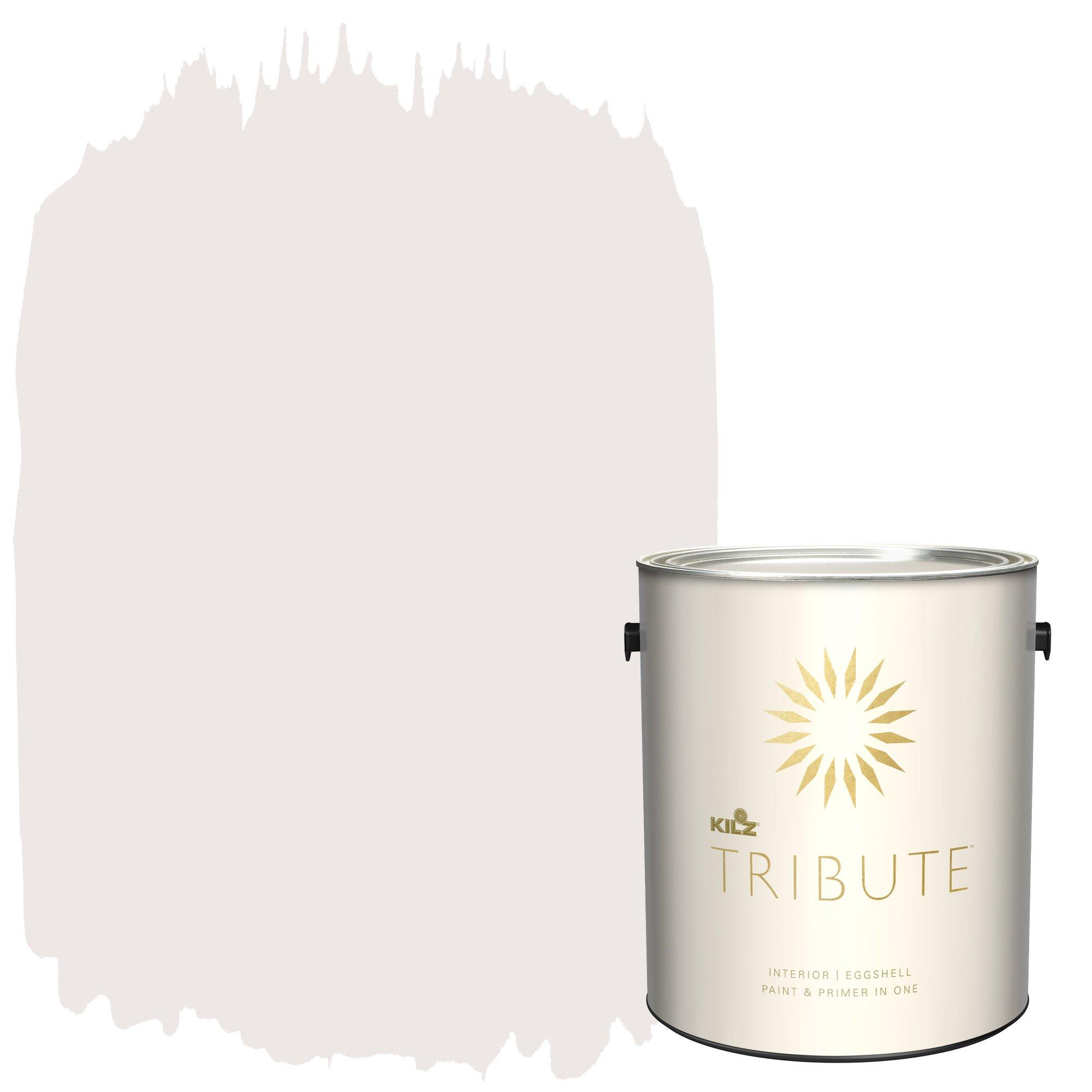 KILZ TRIBUTE Interior Eggshell Paint and Primer in One, 1 Gallon, Blushing White (TB-21)