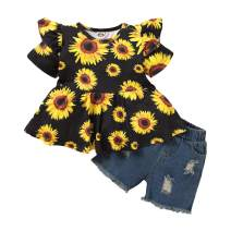 Toddler Baby Girls Clothes Short Sleeve Ruffled Sunflower Tops and Denim Pants Summer Outfits Sets