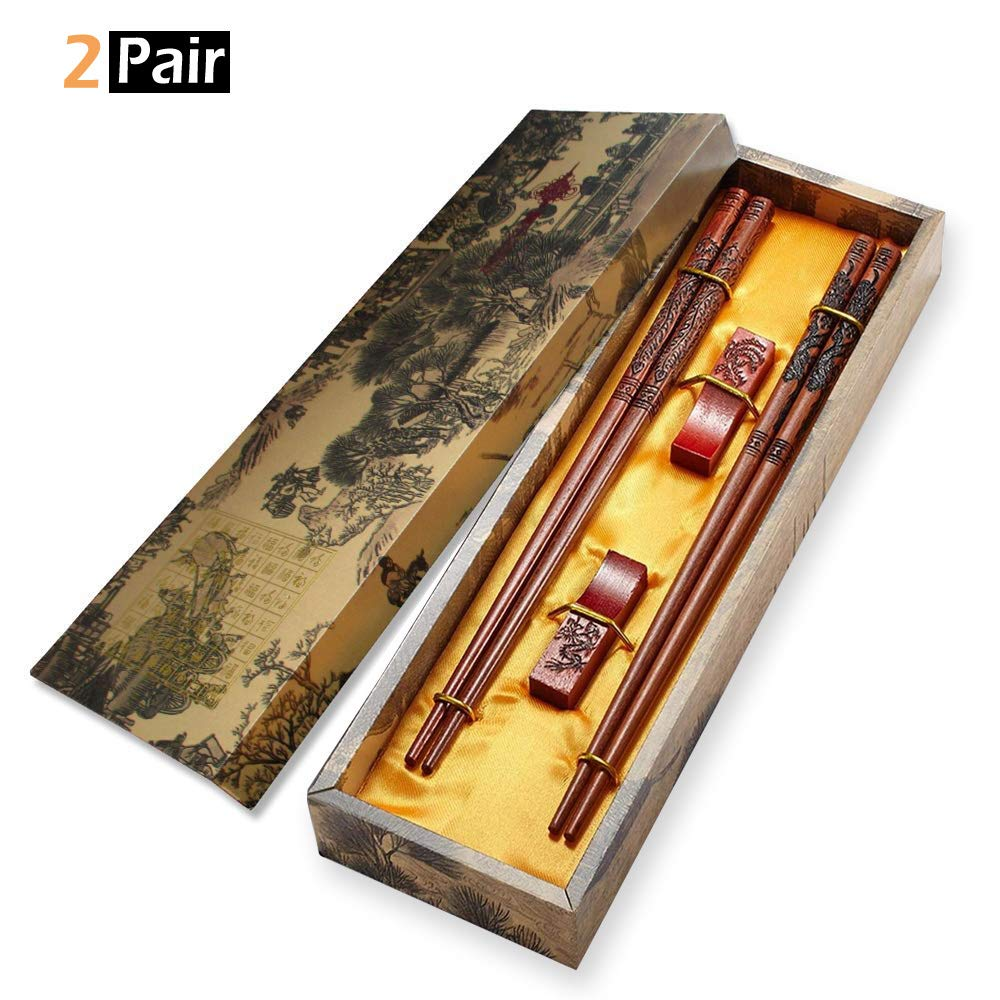 MHKBD Chopsticks Reusable, Wooden Chopsticks with Engraved Dragon and Phoenix Chinese Dragon Chopsticks with Case, Holder and Carry Bag, Great Gift for Wedding Birthday Anniversary