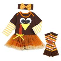 Seyouag Thanksgiving Baby Girls Outfits Newborn Girl Romper with Tutu Dress and Leg Warmers Sets 3Pcs Clothes Set