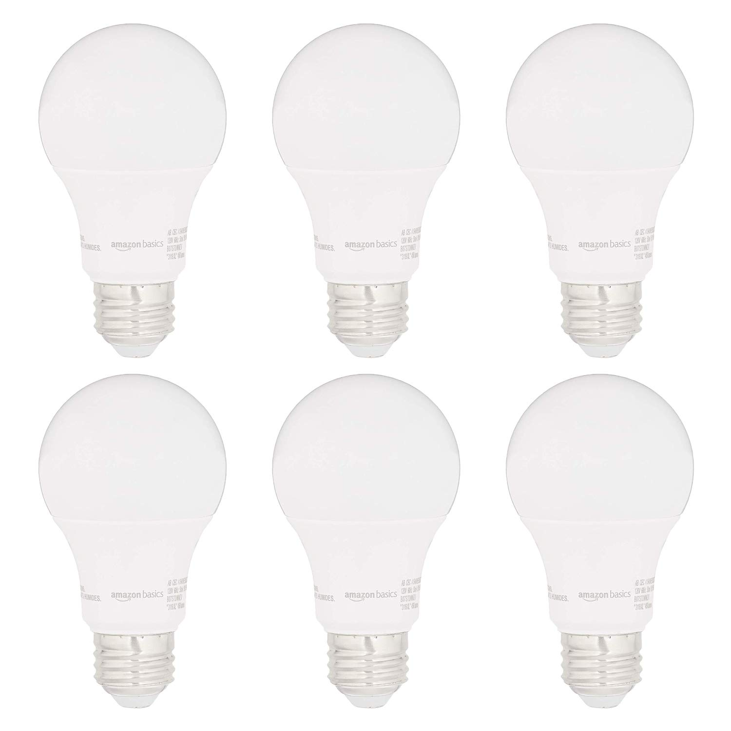 AmazonBasics 40W Equivalent, Daylight, Dimmable, 15,000 Hour Lifetime, CEC Compliant, A19 LED Light Bulbs | 6-Pack