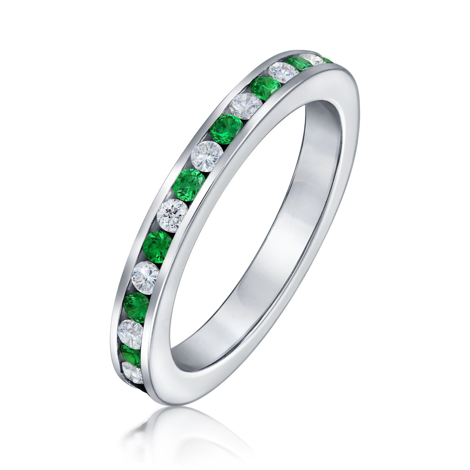 Cubic Zirconia Stackable CZ Channel Set Eternity Band Ring Simulated Gemstone 925 Sterling Silver 12 Birth Month Colors