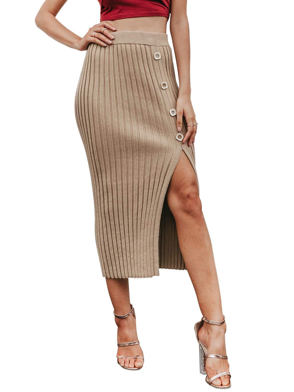 Sollinarry Women's High Waist Rib Stretch Knit Bodycon Skirt Side Slit Midi Pencil Skirt