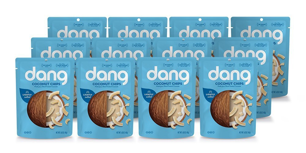 DANG Keto Toasted Coconut Chips   Lightly Salted Unsweetened   12 Pack   Keto Certified, Vegan, Gluten Free, Paleo Friendly, Non Gmo, Healthy Snacks Made With Whole Foods   1.43 Oz Resealable Bags