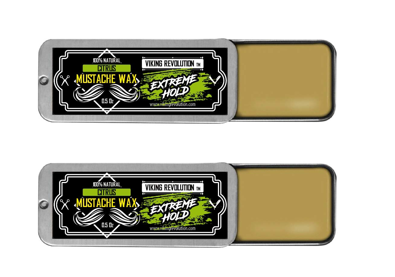 Mustache Wax 2 Pack - Extreme Hold Beard & Moustache Wax for Men - Strong Hold Helps Train Tame & Style - 0.5oz each (Citrus, 2 Pack)