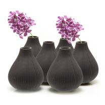 """Chive - Set of 6 Frost, 3"""" Wide 3.5"""" Tall Round Clay Pottery Flower Vase, Decorative Vase for Home Decor Living Room Office and Place Settings - Bulk (Black)"""