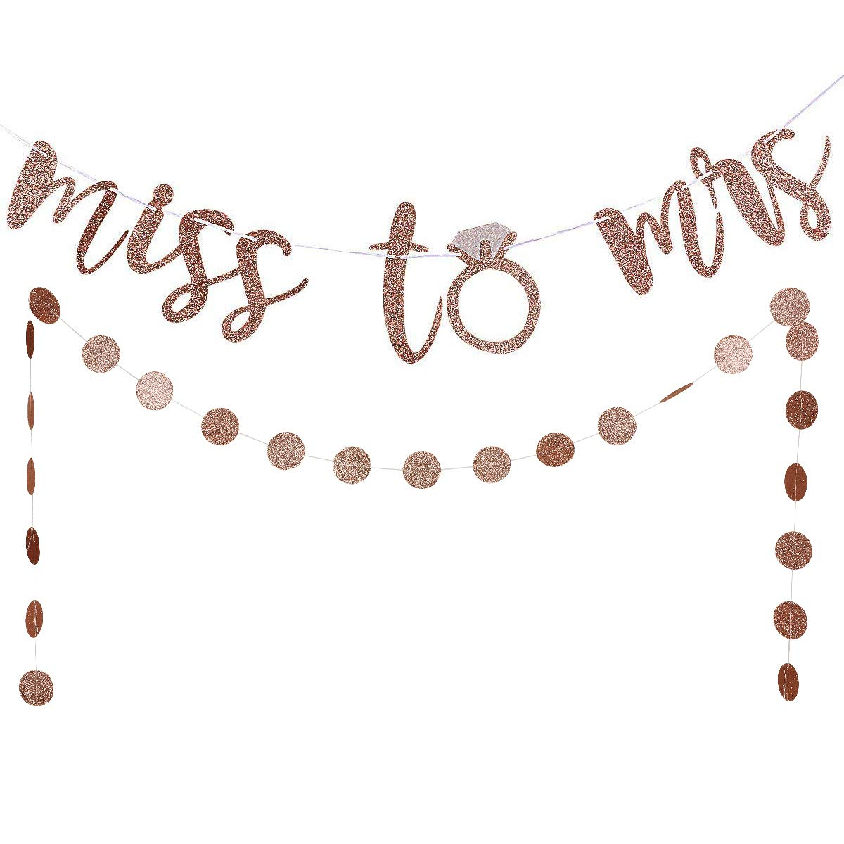 Rose Gold Glittery Miss to Mrs Banner and Rose Gold Glittery Circle Dots Garland(25pcs Circle Dots) -Bachelorette Wedding Engagement Party Decoration Supplies