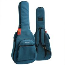 """ELEOPTION Acoustic Electric Guitar Strap Bag Folk Acoustic Guitar Gig Bag Case PU Padded for 41""""42"""" Inch with Double Strap and Outer Pockets (Blue)"""