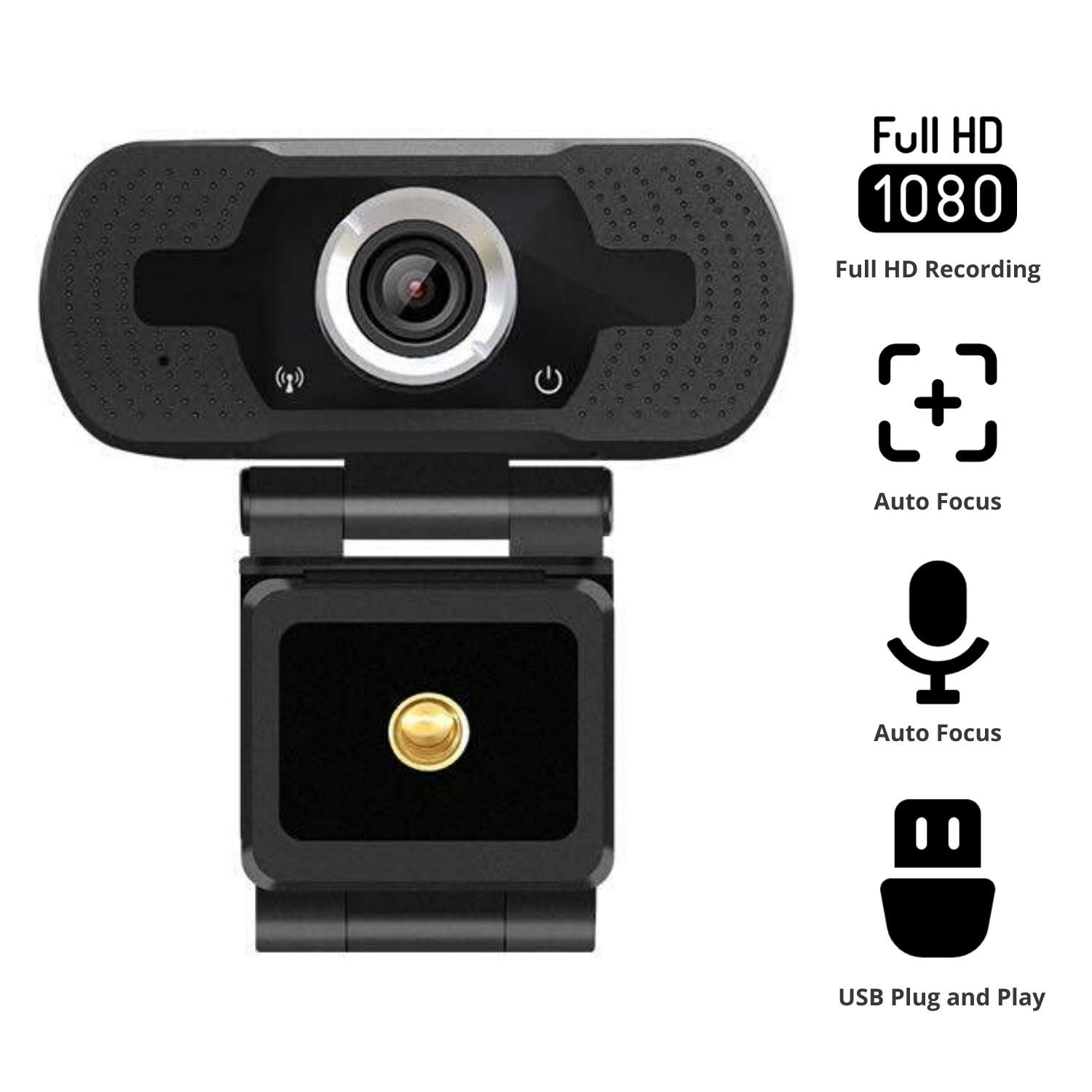 2020 NexiGo 1080P Webcam with Built-in Microphone, 110-degree Wide Angle HD Auto Focus, Dual Stereo Mics, Widescreen USB Camera for PC/Mac Laptop/Desktop Streaming Video Calling Recording Conferencing